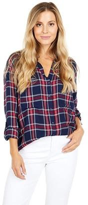 bobi Los Angeles Rayon Plaid Tunic (Navy) Women's Clothing
