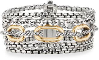 David Yurman Multi-Row Chain Bracelet w/ 18k Gold, Size S-M