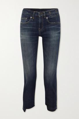 R 13 Boy Straight Frayed Mid-rise Jeans - Mid denim