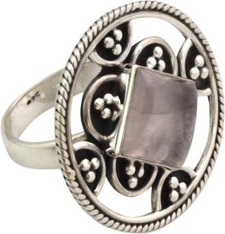Novica Artisan Crafted Sterling Oxidized Rose Quartz Ring