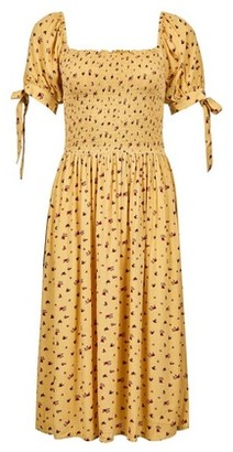 Dorothy Perkins Womens Yellow Floral Print Midi Dress, Yellow