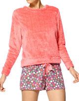 Hue Two-Piece Dot Maniac Fleece Shirt and Boxer Set