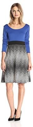 Star Vixen Women's Long Sleeve Solid Top Skirt Colorblock Inset Waistband Short Skater Dress