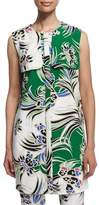 Just Cavalli Love Kimono Printed Shift Dress, Green