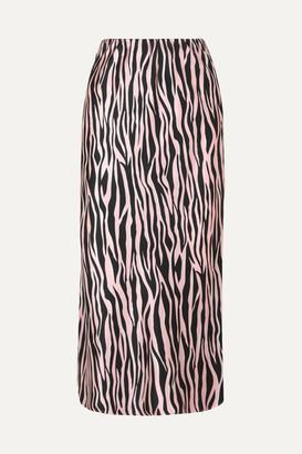 Olivia von Halle Isla Printed Silk-satin Midi Skirt - Black