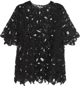 Rochas Tulle-trimmed guipure lace top