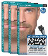 Just For Men Mustache & Beard Brush-In Color Gel, Blond (Pack of 3, Packaging May Vary)