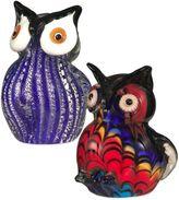Dale Tiffany Art Glass 2-Piece Owl Figurines Set