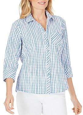 Foxcroft Hampton Crinkle Texture Tattersall Shirt