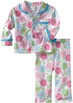Absorba Baby Girls Pink Blue Trim Floral Print Button 2 Pc Pajama Set 24M