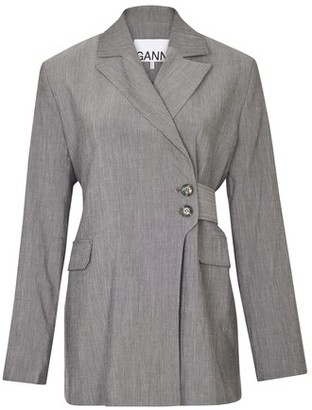 Ganni Asymetric buttoned blazer