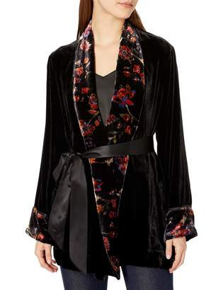 For Love and Liberty Love & Liberty Women's Velvet Robe Jacket with Print Detail