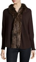 Neiman Marcus Cashmere Cocoon Cardigan with Fur Trim