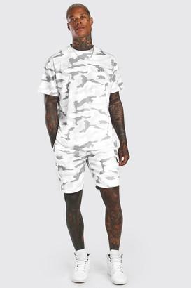 boohoo Mens White Loose Fit Camo Cargo T-Shirt & Short Set, White