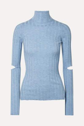 Helmut Lang Cutout Ribbed Wool Turtleneck Sweater - Light blue