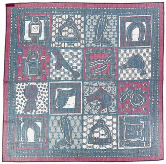 Hermes Navy Bordeaux, By Carre Silk Scarf