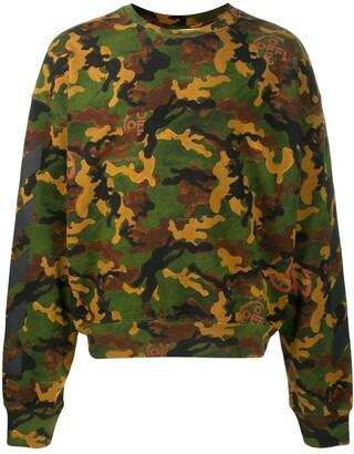 Off-White Camouflage Print Crew Neck Sweatshirt