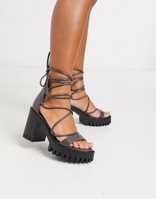 Public Desire Roxanne ankle tie cleated platform block heel sandal in grey