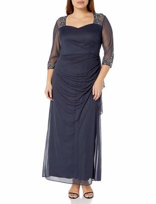 Alex Evenings Women's Plus Size Long Dress with Beaded Illusion Neckline