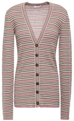 Brunello Cucinelli Metallic Striped Cashmere And Silk-blend Cardigan