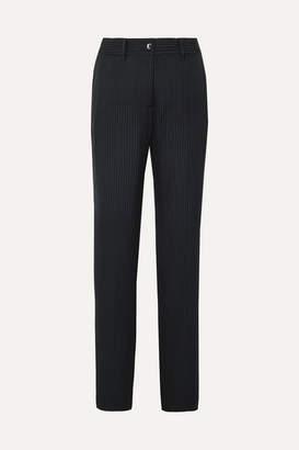 Equipment Lita Striped Satin-jacquard Wide-leg Pants - Midnight blue