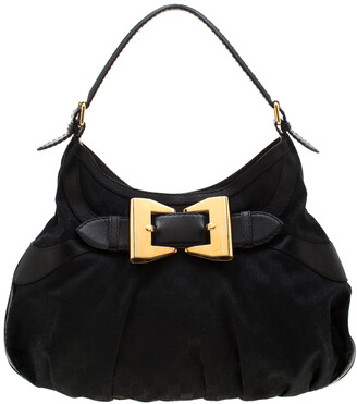 Gucci Black GG Canvas and Leather Queen Hobo