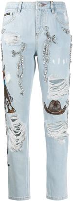 Philipp Plein Boyfriend Cowboy patch-embellished jeans