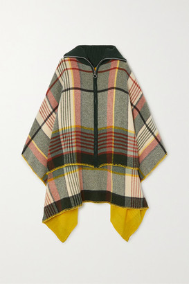 HOLZWEILER + Net Sustain Checked Wool And Cashmere-blend Poncho - Mustard