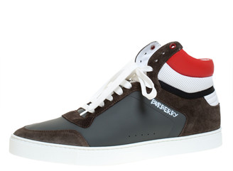 Burberry Grey/Red Leather and Suede Reeth High Top Sneakers Size 46