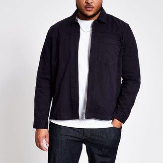 River Island Mens Big and Tall Navy zip front overshirt