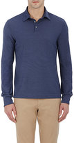 Zanone Men's Slub-Knit Long-Sleeve Polo Shirt-NAVY