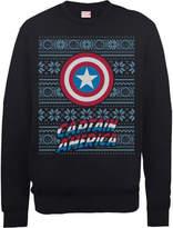 Marvel Comics Captain America Caps Shield Black Christmas Sweatshirt