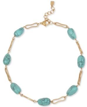 "Robert Lee Morris Soho Gold-Tone Link & Stone Bead Collar Necklace, 17"" + 2"" extender"