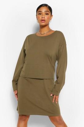 boohoo Plus Long Sleeve Oversized T-Shirt Dress