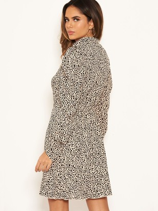 AX Paris Spotty Puff Sleeve Dress - Stone