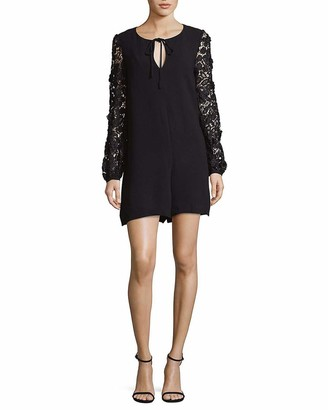 French Connection Women's Malaita Lace Long Sleeve Short Romper