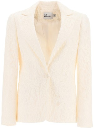 Self-Portrait Fine Corded Lace Blazer