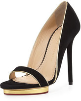 Charlotte Olympia Christina Suede d'Orsay Pump, Black/Gold