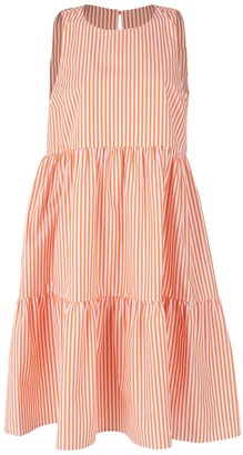 MDS Stripes Orange and White Sleeveless Peasant Dress