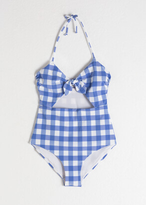 And other stories Gingham Cutout Halter Swimsuit
