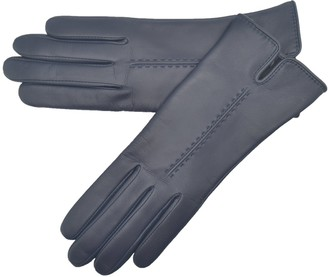 Lambland Ladies Soft Leather Fleece Lined Gloves in Navy Size Medium