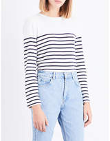Claudie Pierlot Stripe-print cotton-blend T-shirt