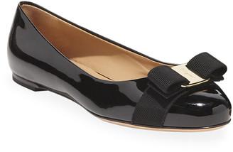 Salvatore Ferragamo Varina Patent Leather Bow Ballerina Flats