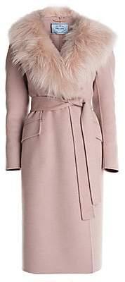 Prada Women's Wool & Angora-Blend Goat Fur Trimmed Robe Coat