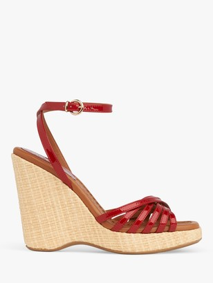 LK Bennett Solange Leather Strappy Wedge Heel Sandals