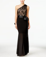 Betsy & Adam B&A By Lace One-Shoulder Mermaid Gown