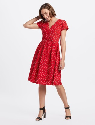 Draper James Floral V-Neck Dress