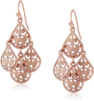 1928 Jewelry Rose Gold-Tone Filigree Drop Wire Earrings