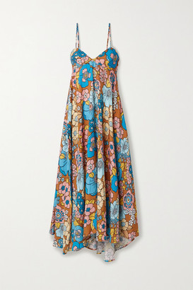 Dodo Bar Or Mila Floral-print Crinkled Voile Midi Dress - Blue