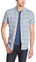 Lucky Brand Men's Short-Sleeve Jacquard Blue Stripe Shirt